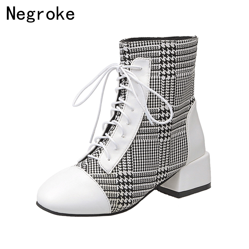 2019 Designer Black White Plaid Ankle Boots For Women Sexy Block High Heels Rubber Botines Femme Lace Up Booties Botas Mujer2019 Designer Black White Plaid Ankle Boots For Women Sexy Block High Heels Rubber Botines Femme Lace Up Booties Botas Mujer
