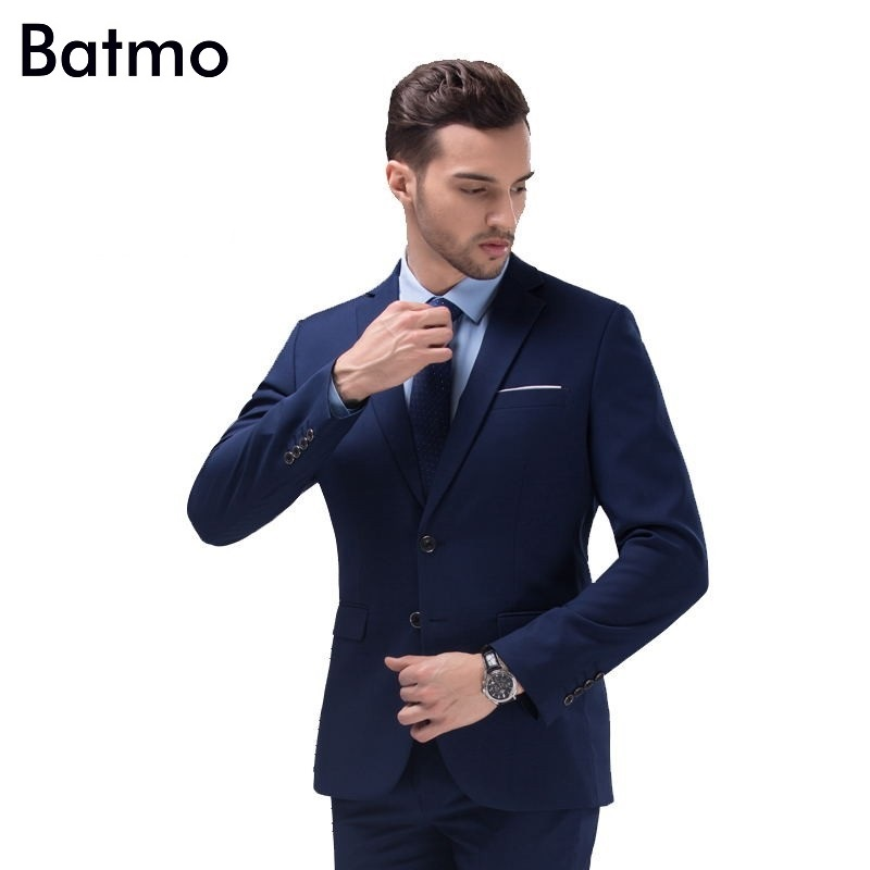 2016 new arrival High quality weding dress Single breasted casual suit men black blue men s