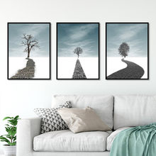 Hot sale Nordic style tree Path Sky white clouds white Art Canvas Poster and Print Canvas Painting Decorative Wall Decor P0076(China)