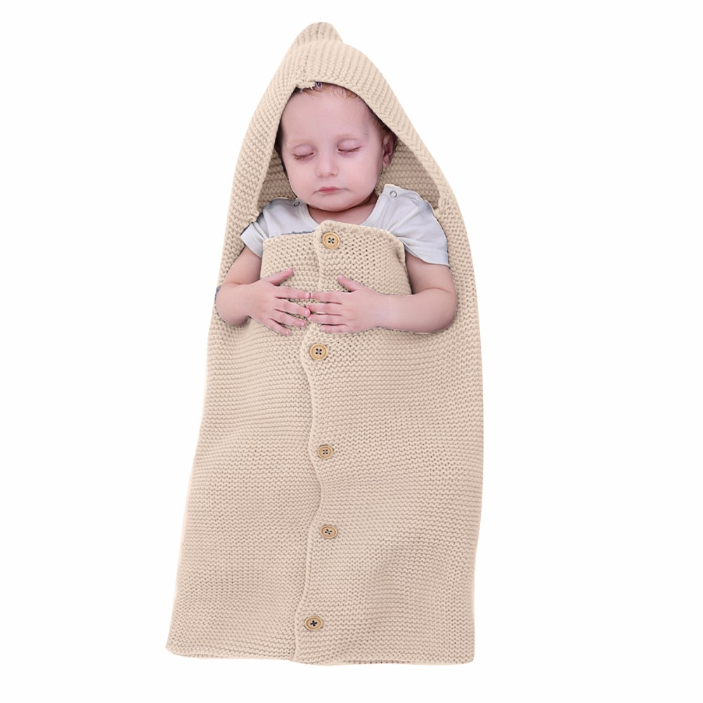 Nosii 15 x 28 Baby Kid Soft Knit Wrap Swaddle Hooded Button Crib Warm Sleeping Blanket