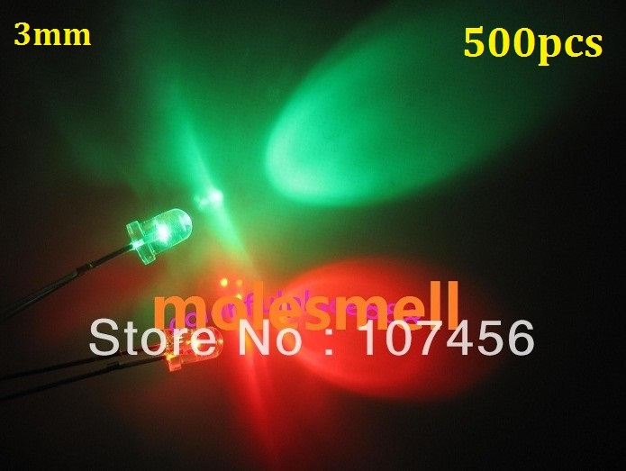 500pcs 3mm flashing red/green flash led LED 3mm blinking red/green led 3mm round water clear Bi-Color Flash red/green led lamp