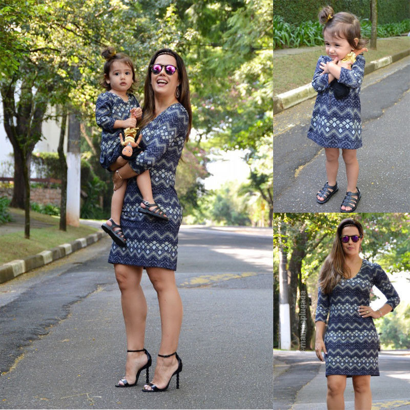 efcfc68092a8 New 2018 Mother Daughter Matching Outfits Dress Family Look Clothing  Holiday Dresses For Kids Women Ladies Girls Mini Boho Dress