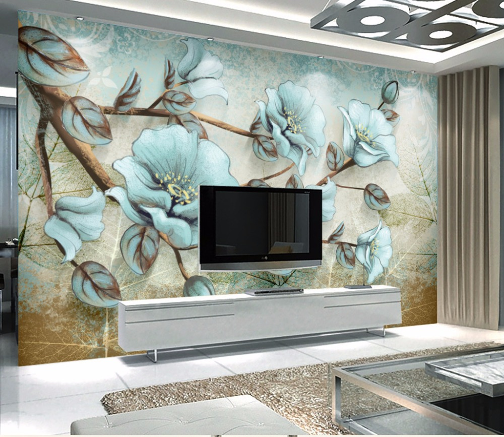 Bacaz European Style Modern 3D Paint hand Flower Pattern Background Decoration 3d Mural Wallpaper For Living Room Home Decor