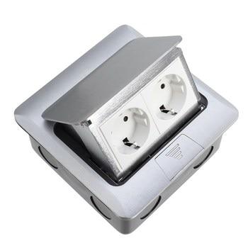 Top Kwaliteit Aluminium Zilver Panel EU Standaard 2 Manier Floor Socket Stopcontact Beschikbaar Sockets