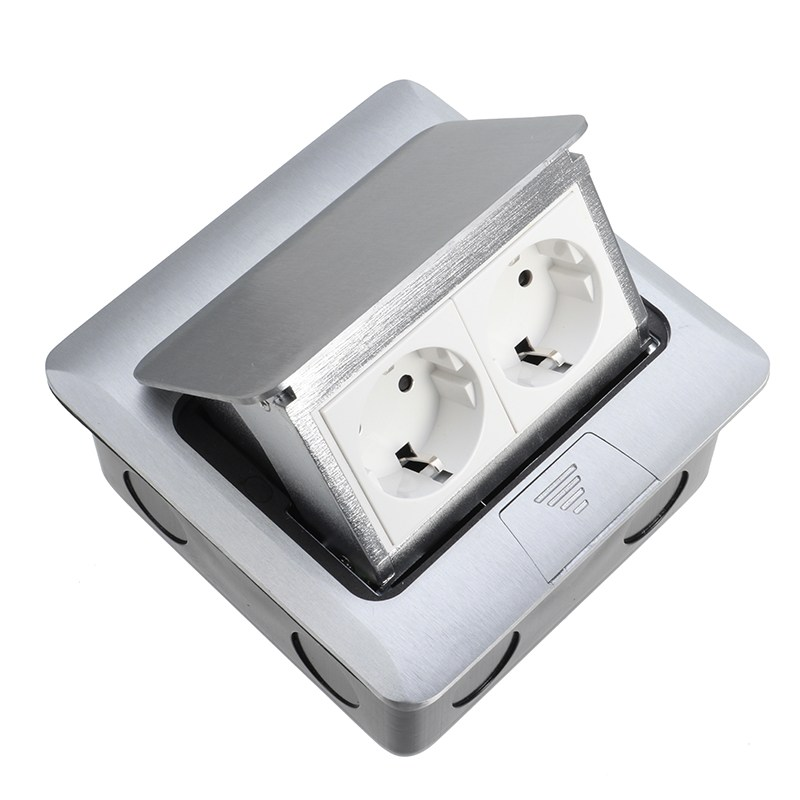 Top Quality Aluminum Silver Panel EU Standard 2 Way Floor Socket Electrical Outlet Available SocketsTop Quality Aluminum Silver Panel EU Standard 2 Way Floor Socket Electrical Outlet Available Sockets