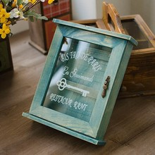 Vintage Blue Color Wooden House key box wooden key storage case Key hanger box wooden storage case