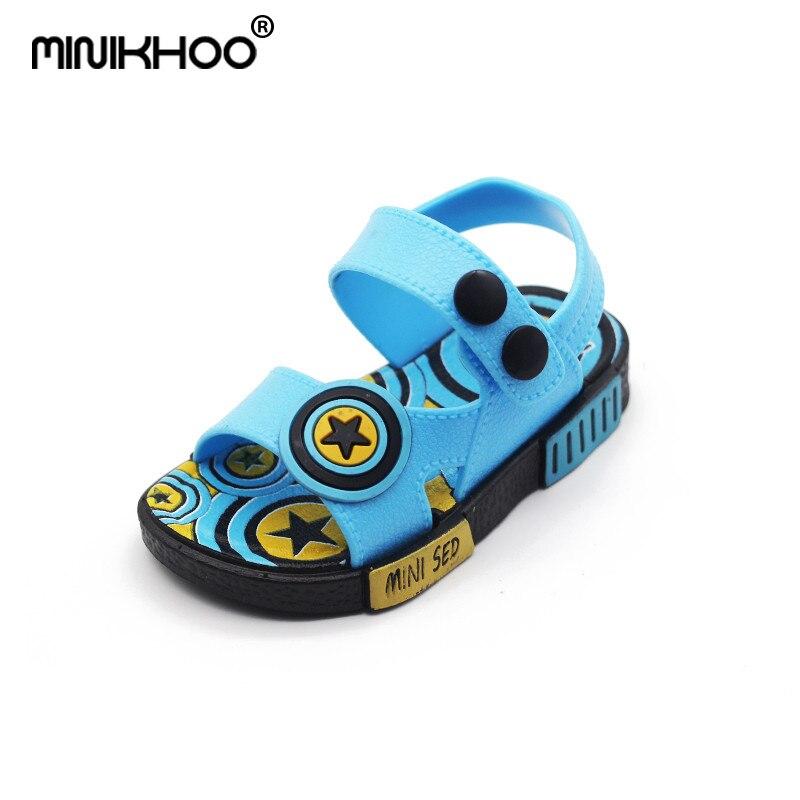 Mini Melissa Brand Boys Buckle Sandals 2018 Summer New Sandals Anti-skid Shoes Girl Beach Sandals 12cm-17cm Breathable Sandals