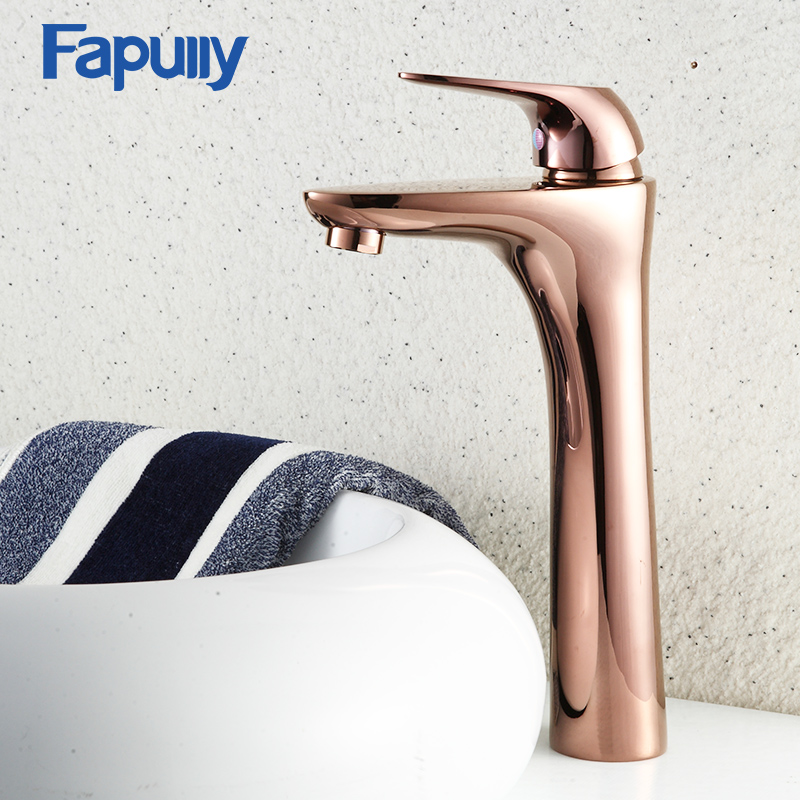 Fapully Antique Gold Bathroom Basin Faucet Single Hole Tall Bathroom Sink Faucet Single Handle Hot And Cold Mixer Tap hpb square style tall basin faucet water tap chrome finished bathroom sink mixer single handle hot and cold hp3132