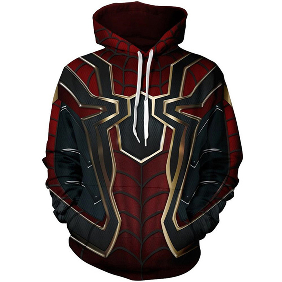 The Avengers 3 Spiderman Costume Men Hoodies Cosplay Casual Sweatshirts 3D Print Jackets 5XL