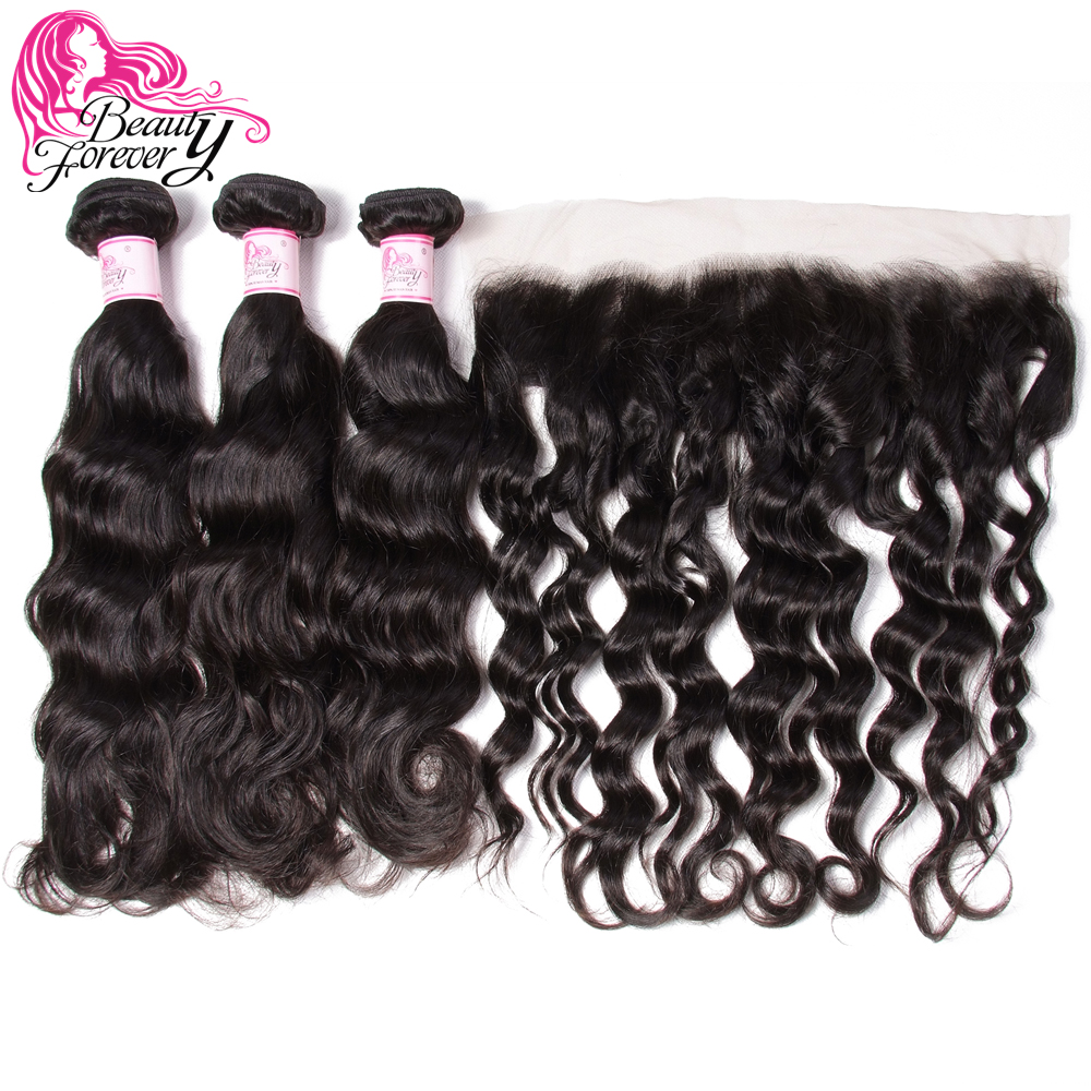 Beauty Forever Natural Wave Brazilian Human Hair 3 Bundles With Lace Frontal Closure 13*4 Free Part 100% Remy Hair Weaves-in 3/4 Bundles with Closure from Hair Extensions & Wigs    2
