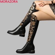 Morazora Size 34 42 Hot 2019 Chính Hãng Giày Da Nữ Thu Đông Giày Bling Thời Trang Co Giãn Đầu Gối Giày Cao giày Lười Nữ
