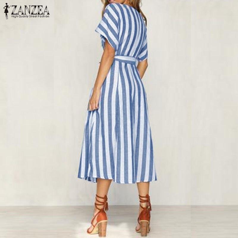 331e0e1d0f2 2018 Summer ZANZEA Elegant Women V Neck Short Sleeve Striped Work OL Vestido  Casual Loose Split Hem Bow Tie Long Shirt Dress-in Dresses from Women s ...