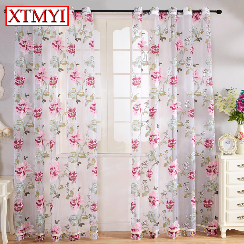 An Tulle Window Curtains For Living Room Pink Flowers Green Leaves Kitchen Custom Made