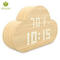 Mrosaa Cloud Electronic Digital Alarm Clock LED Intelligent Table Desktop clock Voice Control Clocks Home Bedroom decoration