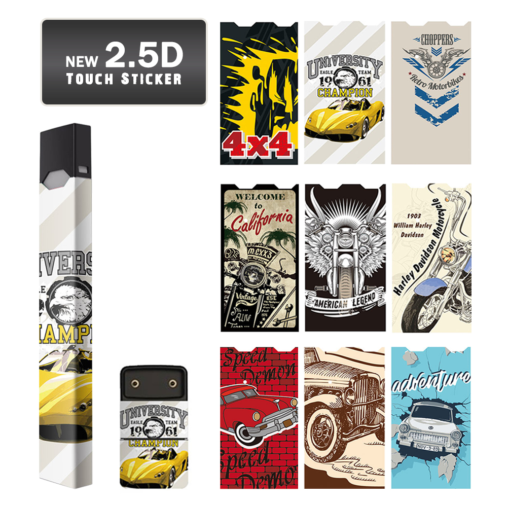 SHIODOKI 2 Pack Juul Skin Decal for Pax JUUL 2.5D Technology Ultra Thin Protective Sticker Wraps Cases -Famous car