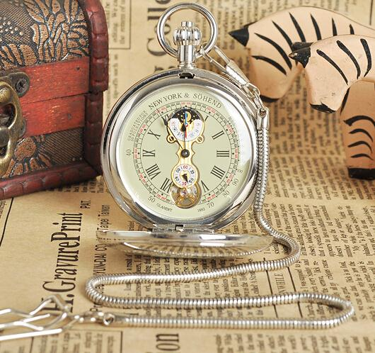 New Brass Antique Double Cover Silver Automatic Mechanical Pocket Watch Free Shipping цена и фото