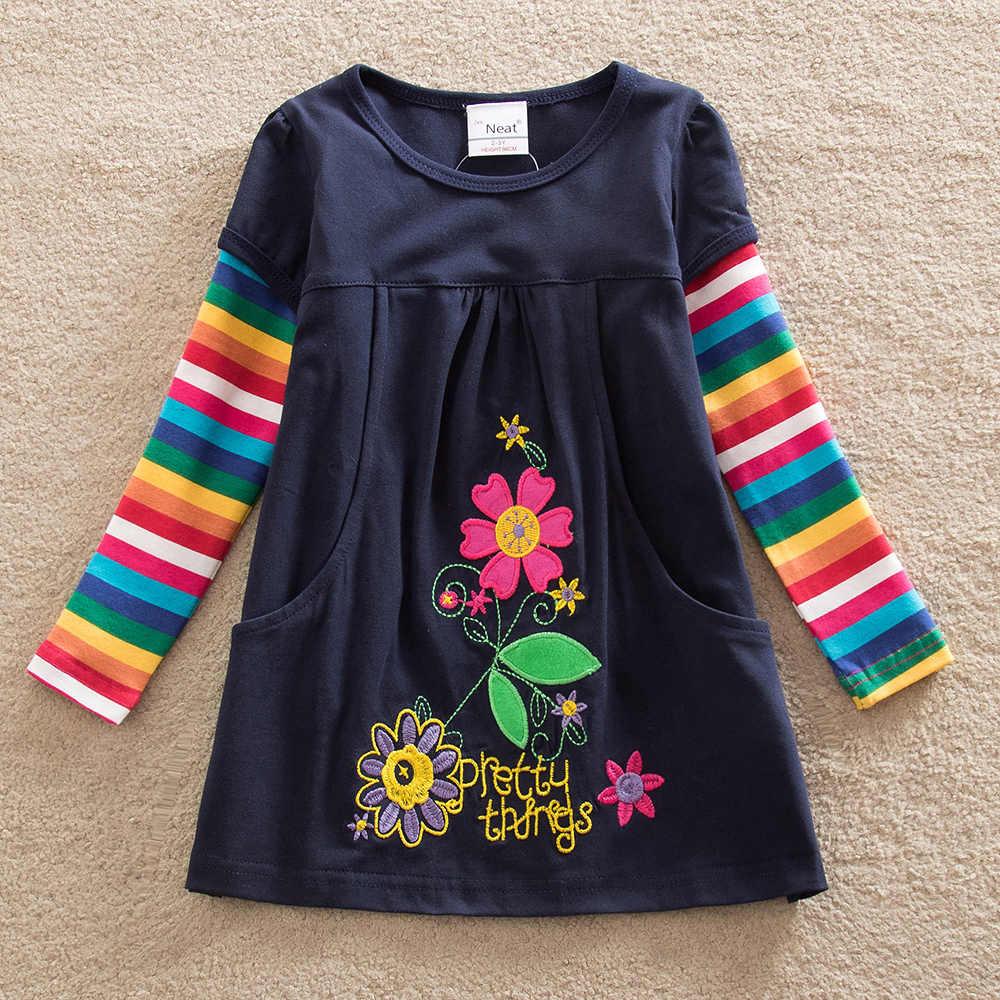 VIKITA/платье для маленьких девочек полосатая футболка с длинными рукавами и цветочной аппликацией топы, одежда детская одежда для девочек платье для девочек От 2 до 8 лет