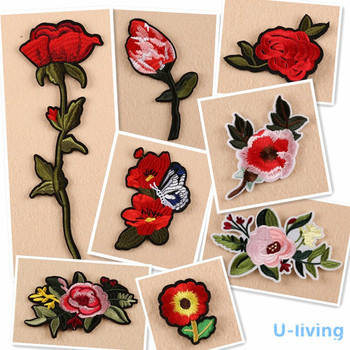 1pcs Flowers Patch for Clothing Iron on Embroidered Sew Applique Cute Patch Fabric Badge Garment DIY Apparel Accessories image