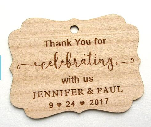 Personalized Text Rustic Wedding Thank You Wooden Gift Favor Tags Labels Party Engagement Bridal Shower Mason