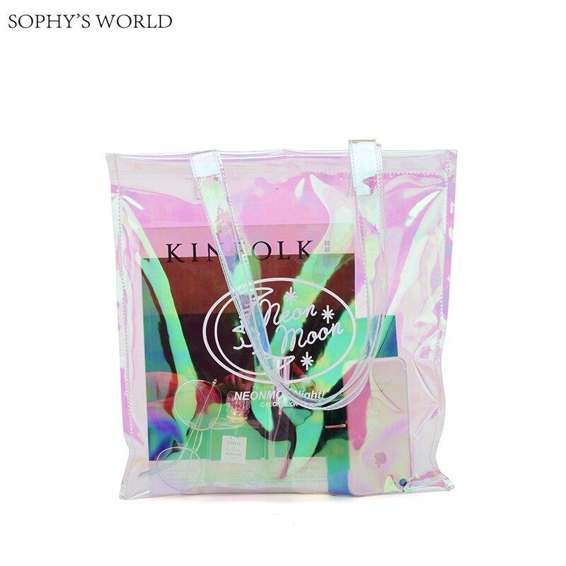2017 Summer large capacity shoulder bag for women hologram beach bag letter clutch purse transparent tote shopping bag