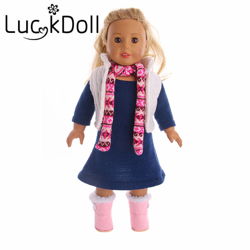 New High Quality Pop Wool Sweater Dress 3 Piece Fits 18-Inch American Girl Doll, Childrens Best Birthday Gift