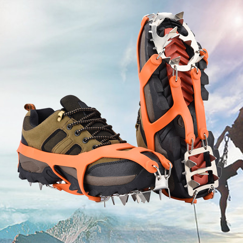 18-Teeth Sports Anti-Slip Ice Gripper Cleats Steel Crampons Cleats Chain Boots Cover Spike Snow For Hiking Climbing Accessories