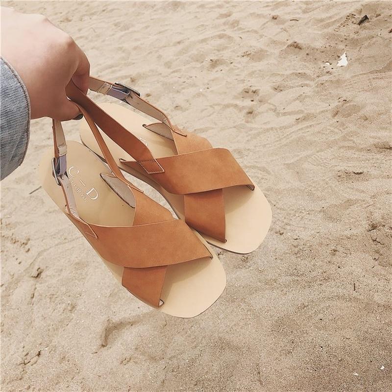 Summer Beach Women Sandals 2018 New Slip on Flats Korean Cross Belt Gladiator Sandals Casual Flat Shoes Woman size 35-39 new 2016 women rhinestone gladiator sandals summer flat casual shoes beach slippers size 35 39