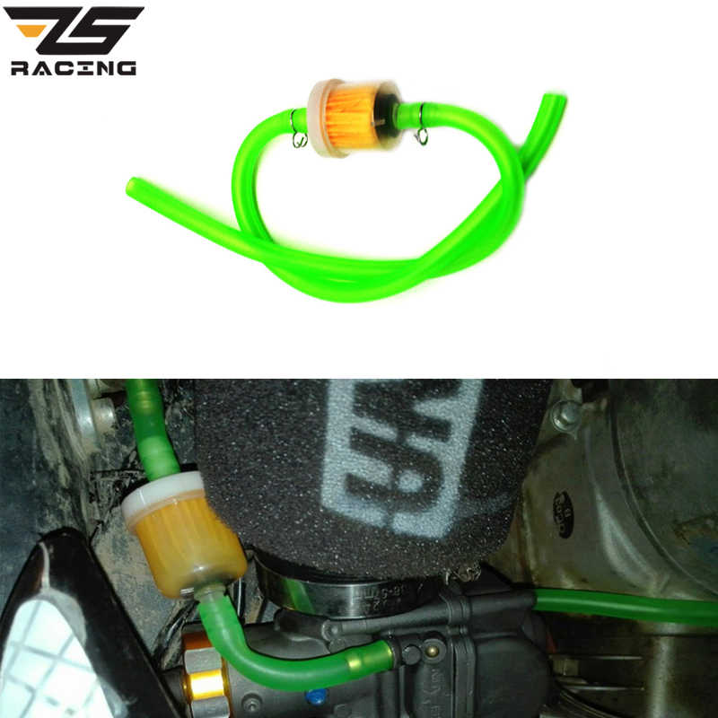 ZS Racing 6mm Inline Gas Petrol Gasoline Liquid Fuel Oil Filter Pipe Hose Line With 4 Clips Universal For Motorcycle Dirt Bike