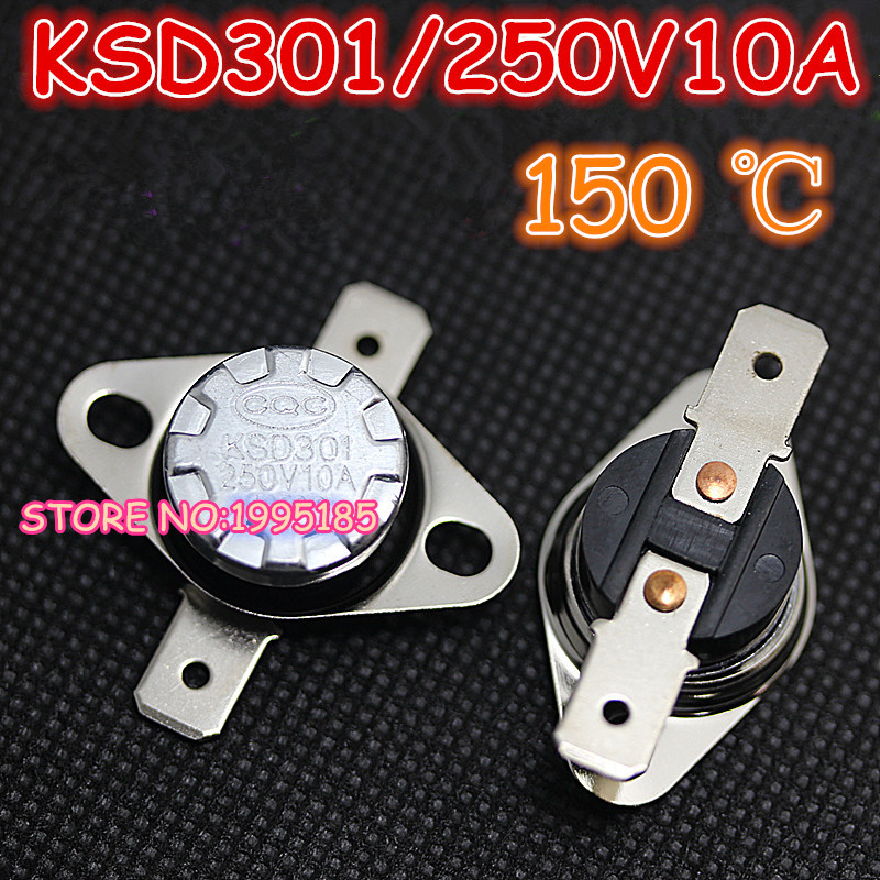10Pcs/Lot KSD301 150 Degrees Celsius 150 C Normal Close NC ...