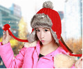 Lday Warm Trapper Aviator Trooper Russia  bomber crochet knitted earflaps hat cap pompom women winter hat with hairball top