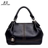 Black handbag women's genuine leather shoulder bag women's Ladies satchel messenger bags woman real leather tote bag