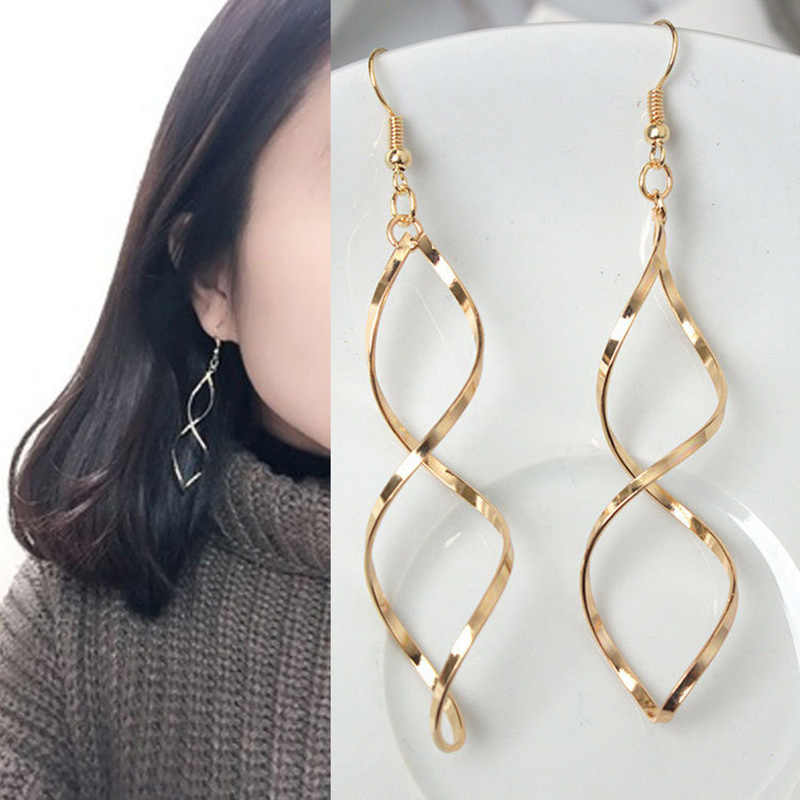 Sóng Dài earrings dangle Phụ Nữ Jewelry Spiral Tuyên Bố Bông Tai Oorbellen Voor Vrouwen Pendientes Oorbellen Drop Earrings
