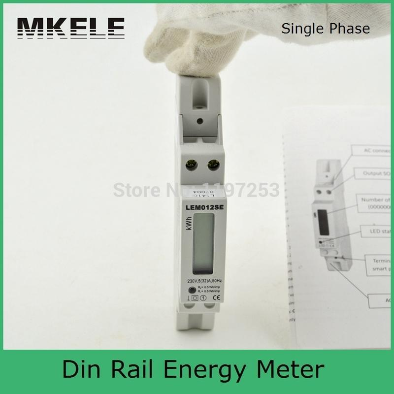 5(32)A 230V Smart Single Phase Din Rail Digital KWH Watur Din-rail watt energy Meter Monitor LCD MK-LEM012SE ...