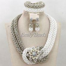 2015 New Nigerian Wedding African Beads Jewelry Set Grey Crystal Beads Jewelry Set White Bridal Necklace Jewelry Set AMJ488