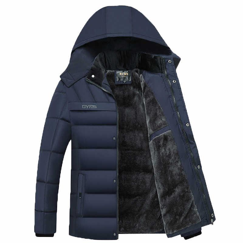 Drop verzending Winterjas Mannen-20 Graden Dikker Warme Parka Kapmantel Fleece Man Jassen Uitloper Jaqueta Masculina LBZ31