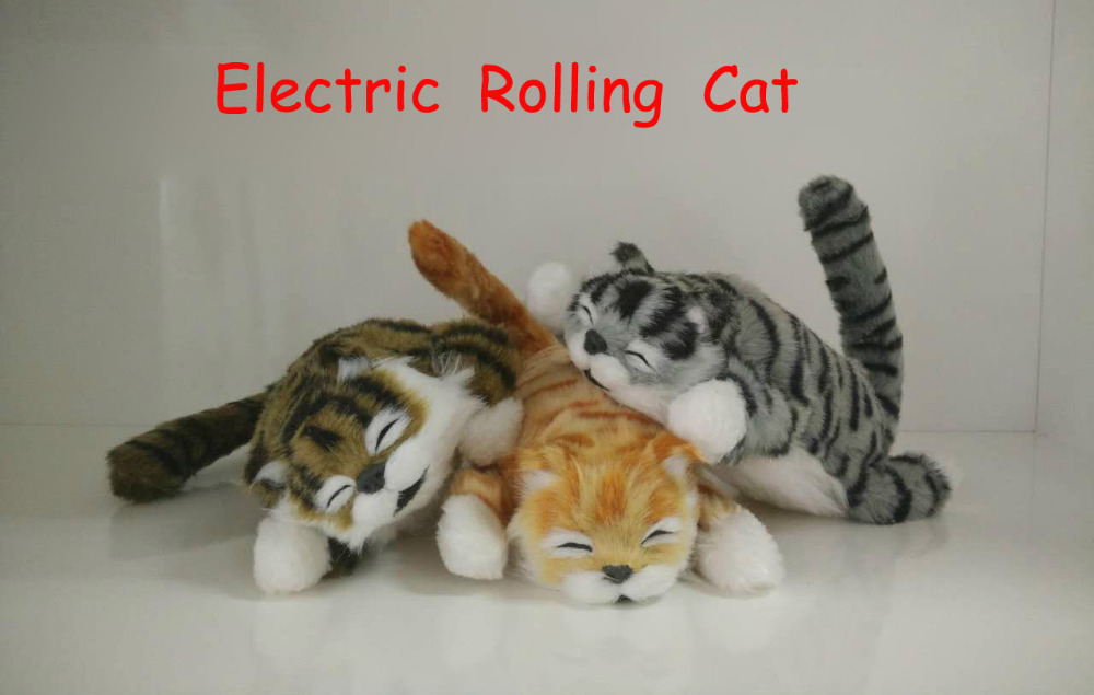 Electric Rolling Cat Toys Funny Simulation Plush Cats with Sounds Novelty Interactive Toys Gift for Kids Children Electric Pets