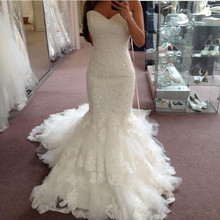 2019 Ivory Strapless Lace Beaded Sequins Mermaid Wedding Dresses Sexy Sleeveless Sweep Train Spring Fall Bridal Gowns