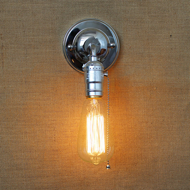 Vintage Aluminum Wall Lamps With Pull Chain Switch 90v 240v E27 Bedroom Bedside Light Aisle