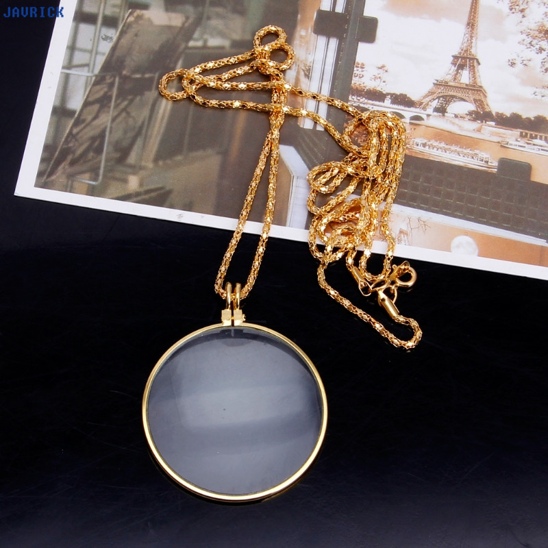 5x Optical Golden Power Magnifier Glass Necklace Magnifying Pendant For Reading