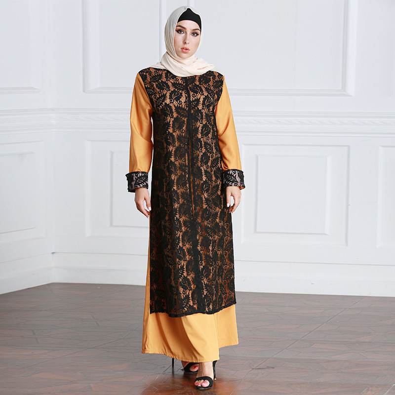 High Quality Plus Size Fake Two piece Muslim Dress Women Dubai Abaya Adult Arabian Kaftan Jilbab
