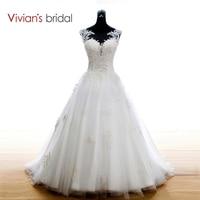 Vivian S Bridal Boho Lace Appliques Wedding Dress 2015 White Beach Wedding Dresses Court Train Vestidos