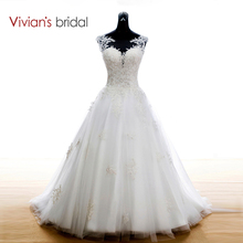 Vivian's Bridal Boho Lace Appliques Wedding Dress 2016 White Wedding Dresses Court Train vestidos de noiva WD111