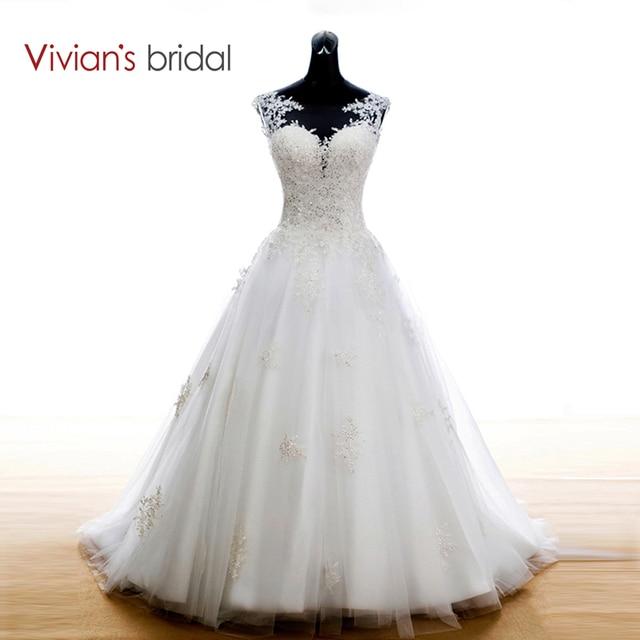 Vivian's Bridal Boho Lace Appliques Wedding Dress 2018 White Court Train Wedding Dresses A Line Bridal Dress Ribbon Wedding Gown
