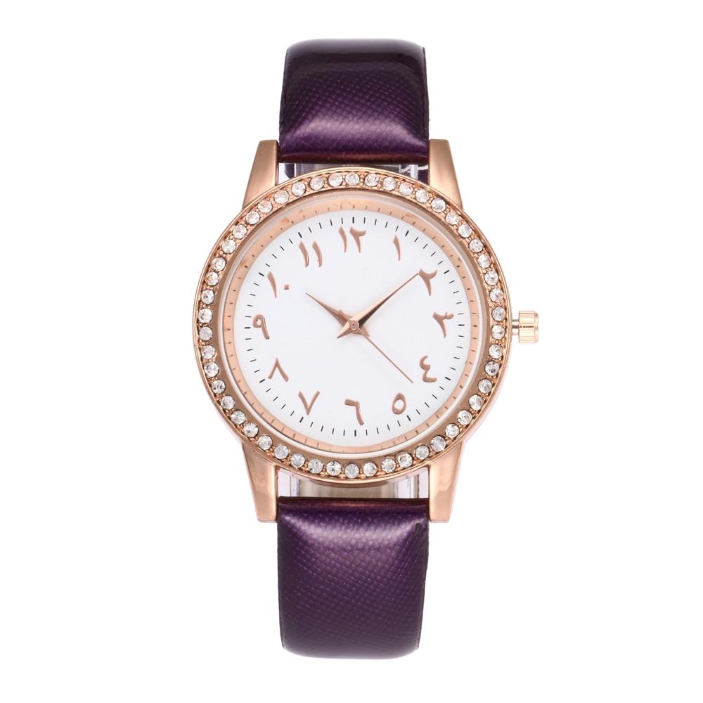 Ladies Læder Quartz Watch High Quality Arabiske Nummer Rhinestone - Dameure - Foto 2