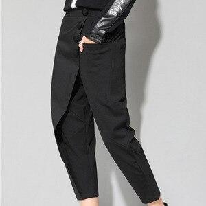 Image 4 - [EAM] ربيع جديد 2020 أسود فضفاض عالية الخصر شقة مرونة الخصر النساء الموضة المد واسعة الساق الكاحل طول السراويل OA870