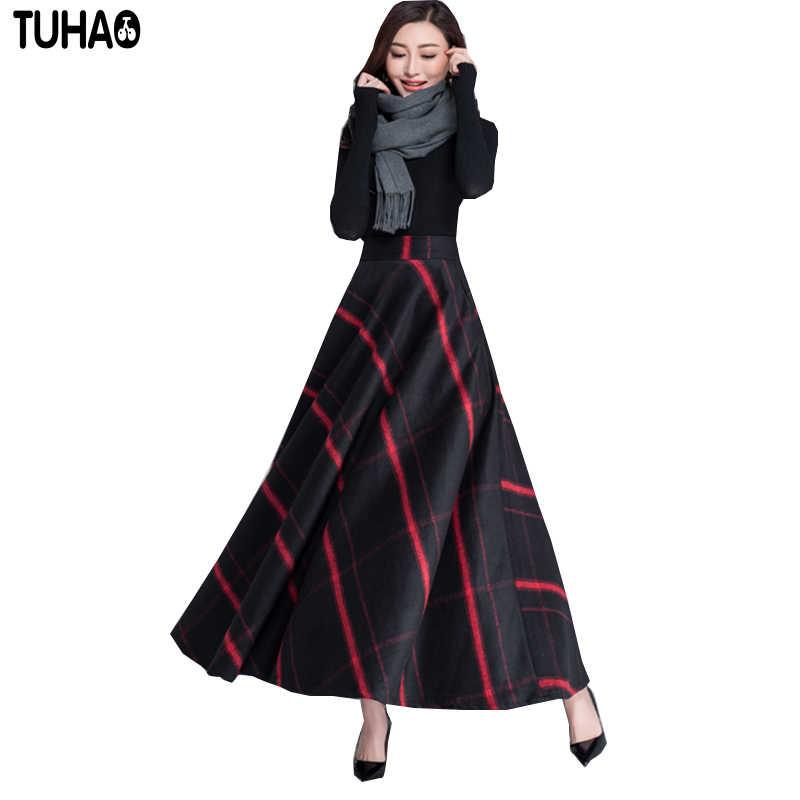 16 Colors 2017 Winter Long Skirt Fashion Women s Clothing Thick Woolen Maxi  Skirt Vintage High Waist 5fd3a5499