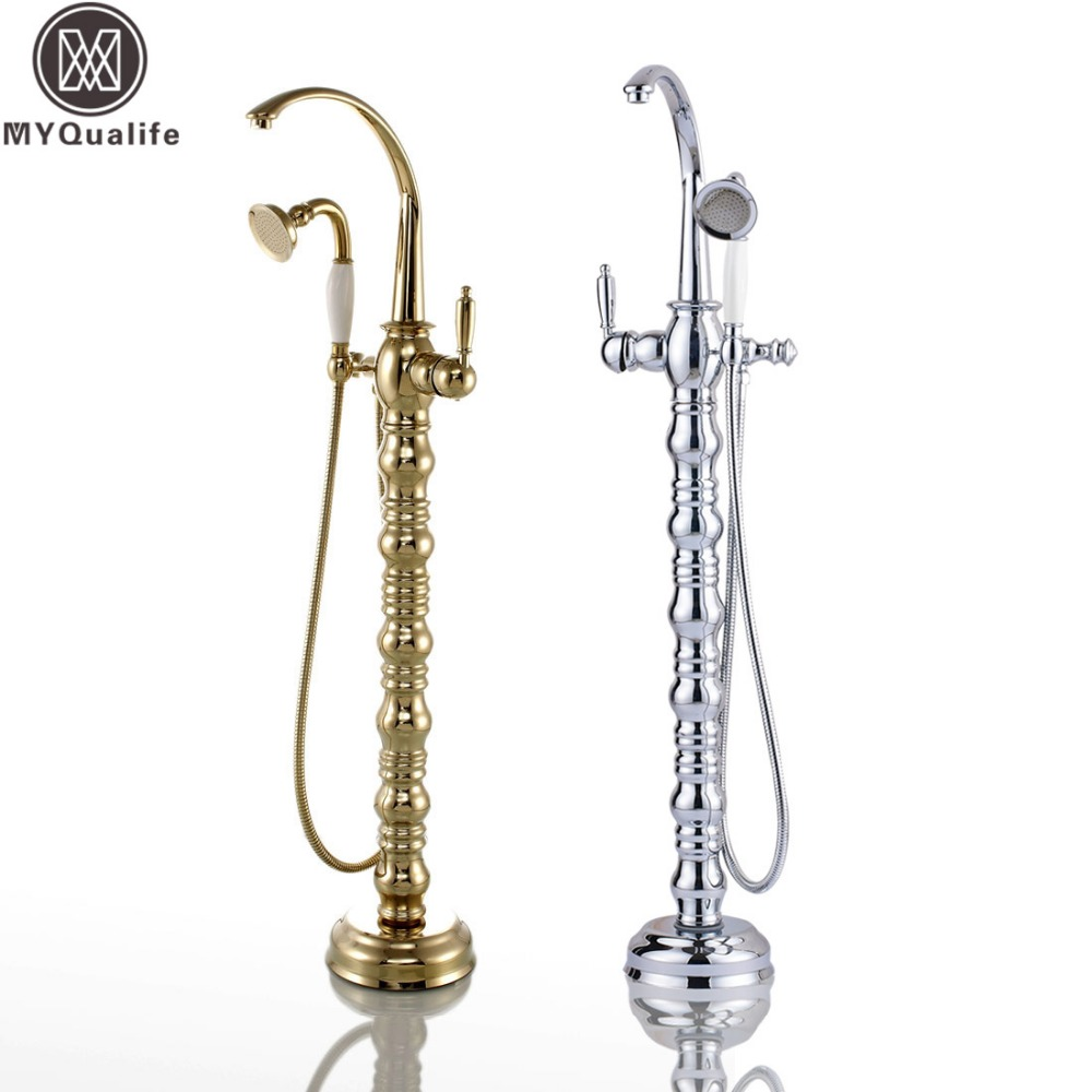 Creative Design Brass Floor Stand Bath Tub Filler Bathtub Faucet Mixer Tap W/ Handheld Shower fashionable Tub Shower Set sea sky bath shower curtain floor rug 2pcs set