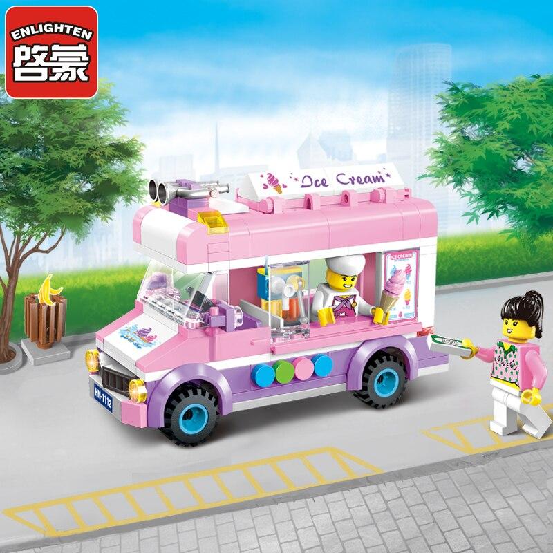 Enlighten Building Block City Cars Ice Cream Car 212pcs Educational Bricks Toy Boy Gift-no Box