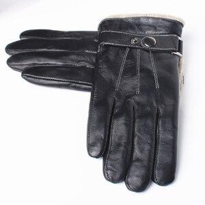 Image 3 - Gours メンズ本革手袋ファッション黒シープスキン指手袋ウール裏地暖かいで冬の新 GSM053