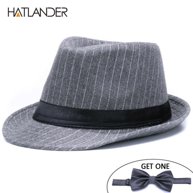 48fb2c07aa0 HATLANDER Brand Fashion stripe Fedoras hats men artificial woolen trilby hat  women ladies top Jazz hat
